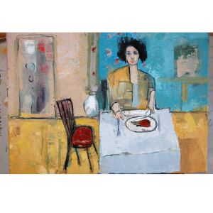 Woman eating lunch pictire